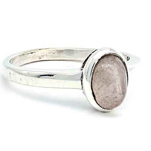 Anillo de plata de ley 925 cuarzo rosa (No: MRI 199), Ringgröße:60 mm/Ø 19.1 mm