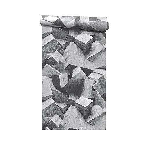 UVKLAEE Estilo nórdico Viento Industrial Papel Tapiz 4d Geometría Abstracta Película y televisión Pared Sala 3D Cemento Gris Blanco Papel Tapiz Paisaje