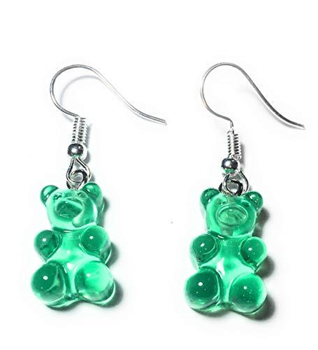 FizzyButton Geschenke Durchlässiger Gummibärchen Jelly Baby (Grün) Tropfen-Ohrringe mit Silber überzogenen Ohrhaken