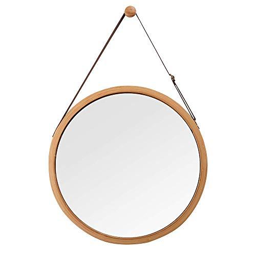 YSYDE opknoping ronde muur spiegel in badkamer & slaapkamer, massief bamboe frame en verstelbare lederen band, de kleine muur spiegel is geschikt voor badkamer slaapkamer