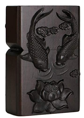 Natürliches Ebenholz Schwarz Holz geschnitzt Feuerzeug Außengehäuse für Zippo Einsatz Kit (Lotus Fish)