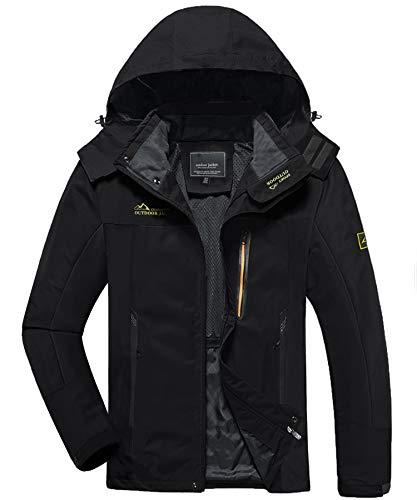KEFITEVD Softshelljacke Herren Wasserdicht Atmungsaktiv Outdoor Jacke Leicht Funktionsjacke mit Kapuze Männer Frühling Wanderjacke Schwarz XL
