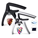 Primium Aluminum(NOT plastic) Guitar Capo for Acoustic Guitar and and Electric Guitar, 2 Pack Professional capos with 2 Picks, Necessary Guitar Clamps gifts for beginners and professioners