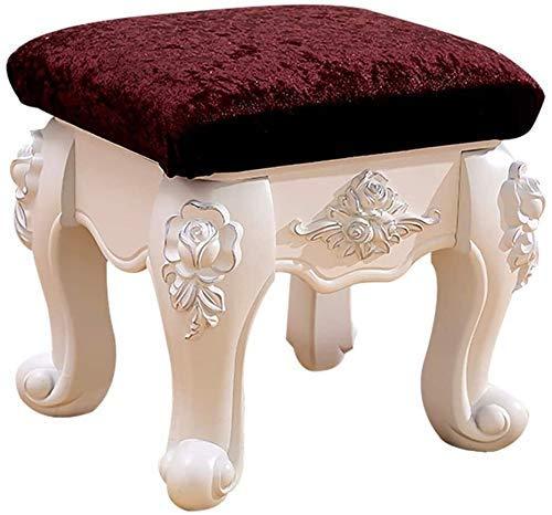 N/Z Daily Equipment Dressing Table Stool Ottoman Chair Stool Velvet Footstool Linen Dressing Table Vanity Stool (Color : Brown Velvet Size : Silver Paint)