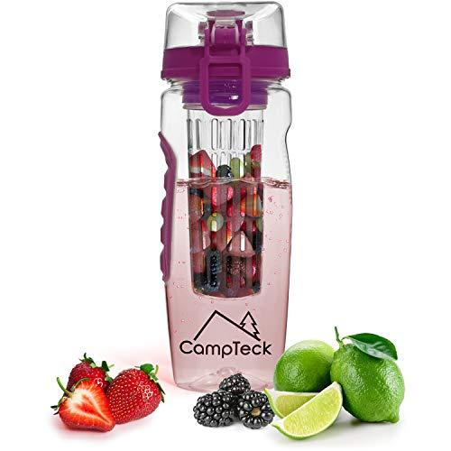 CampTeck - Botella de agua con infusor de agua (1 L, 1000 ml, plástico Tritzers, sin BPA, cierre y asa), color morado