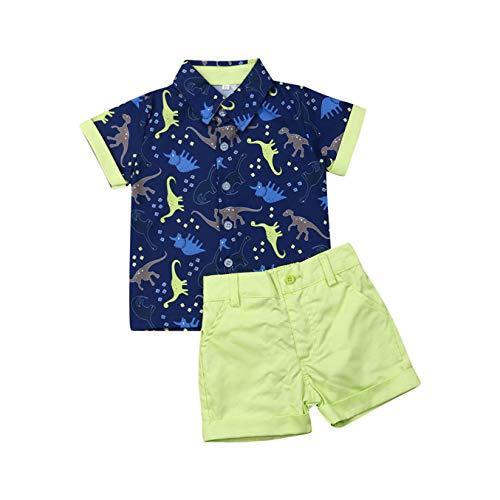 Conjunto de pantalón corto para bebé, verano, estampado Gentleman, manga corta, camiseta...