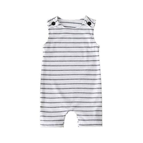 Kobay Neugeborenen Kinder Baby Mädchen Jungen ärmellose Rippe gestreiften Overall Kleidung ärmellose gestreiften Overall für Kleinkinder Mädchen (0-24 M)
