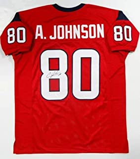 Autographed Signed Andre Johnson Red Pro Style Jersey (Size XL) - JSA Authentic