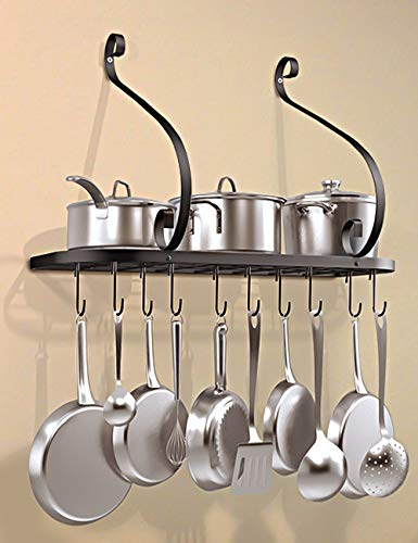 Vdomus wall mount pot pan rack kitchen cookware storage organizer 24 by 10 in with 10 hooks black