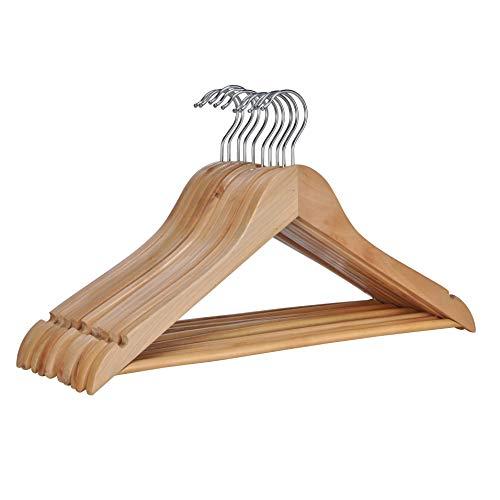 HI Holz Kleiderbügel 10er Set - Kleiderbügel Holz 10 Stück, ideal als Hosen Kleiderbügel oder zur Anzug Aufbewahrung, Holzkleiderbügel mit Steg