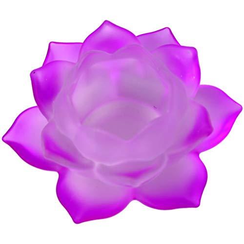 Porte Bougie Fuchsia Lotus en verre