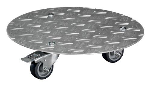 WAGNER plantenroller - ALASKA - aluminium geribbeld plaat, zilverkleurig geanodiseerd, diameter 30 x 7,3 cm, zachte wielen, 2 borstels, draagkracht 150 kg - 20700101