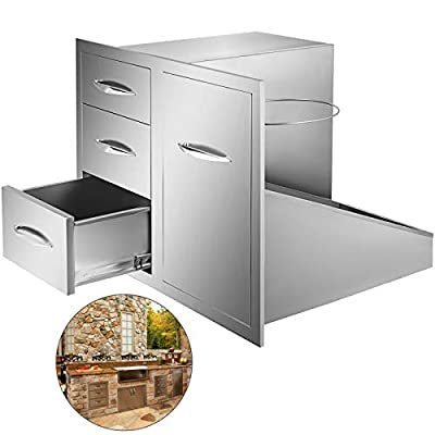 Mophorn Outdoor Kitchen Door Drawer Combo 21.6 Inch Triple Drawer with Propane Drawer and Adjustable Garbage Ring for Outdoor BBQ Island Kitchen