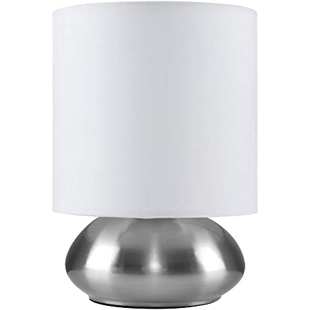 Lampe de Table, Chevet Touch Moderne. Variateur Touch intégré. Chrome Brossé/Nickel avec Abat-Jour en blanc