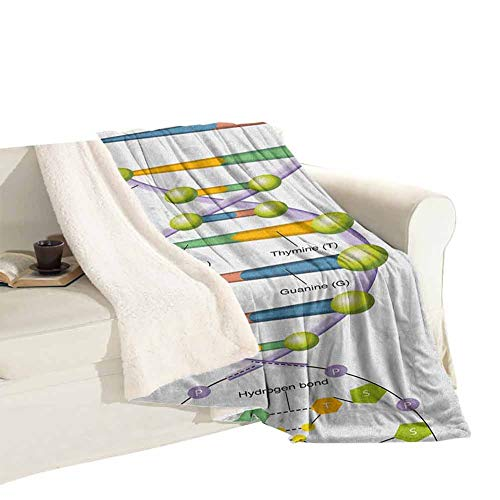 Fleece Blanket Decorative Blanket Bed Colorful Structure of DNA Genetic Code Amino Acids Nucleotides Scientific Study Decorative Blanket Microfiber for Soft Blanket Multicolor W59 xL78