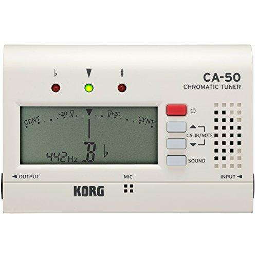 KORG Stimmgerät CA50, chromatischer Tuner für Blas- und Orchesterinstrumente, Kompakt-Stimmgerät mit digitaler Nadelanzeige, weiß, Originalversion