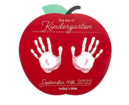 Pearhead First and Last Day of School Reversible Apple Photo Sharing Handprint Sign, Includes Non-Toxic Paint to Create Handprints, Red