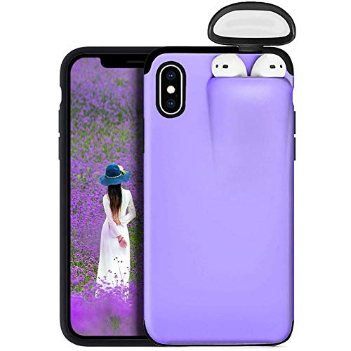 Teléfono [2 en 1] Funda portatil para iPhone X/XS y AirPods Case,Funda Protectora de Auriculares inalámbricos [Silicona + Plástico] para iPhone X/XS y AirPods Carcasas y Fundas para móviles
