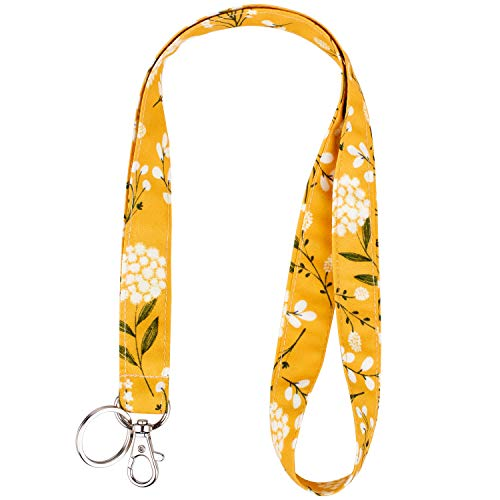 Celokiy Yellow Flower Cotton Fabric Lanyard Neck Strap with Swivel Lobster Clasp,Cute Boho Floral Baby's Breath Lanyards for Keys,Id Badges,Card Holder,Cell Phone,Keychain,Wallet,Teacher,Women,Girls