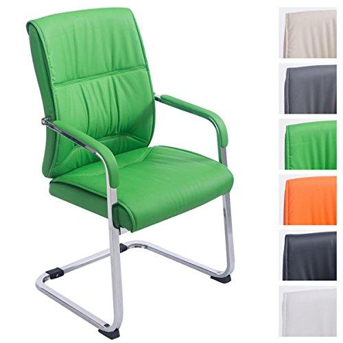 XXL-Freischwinger Anubis mit Kunstlederbezug und gepolsterter Sitzfläche I Pflegeleichter Konferenzstuhl mit Armlehne, Farbe:grün