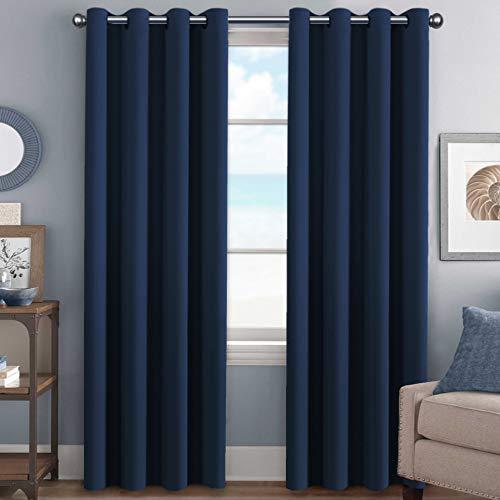 H.Versailtex Premium Blackout Room Darkening Innovated Microfiber Home Fashion Navy Curtain Panels,Antique Grommet ,52 by 96 - Inch - Set of 2