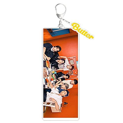 Bestomrogh Kpop BTS Porte-clés avec Jimin Jin Suga J-Hope Rap Monster V Jungkook BTS Butter Concept Photo Version 1 (Bangtan Boys)