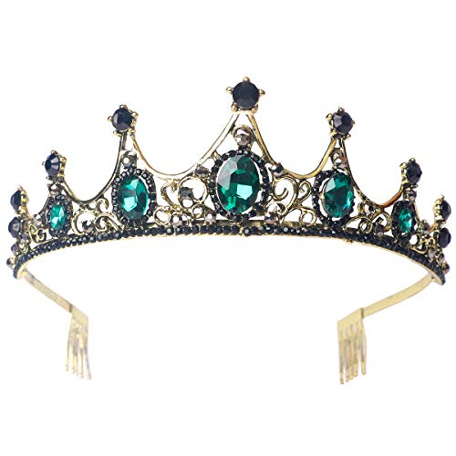 Sppry Women Tiara with Comb - Vintage Crystal Crown for Bridal Queen Girls at Wedding Birthday Pageant (Bronze-Green)