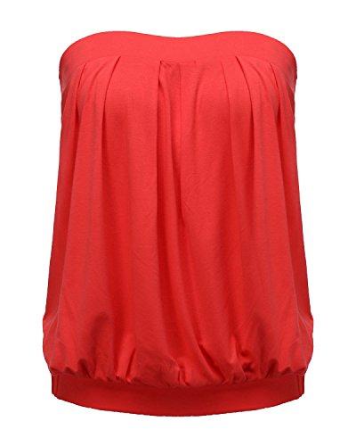 ZANZEA Mujer Camisetas Sin Tirantes Verano Sexy Tube Top Sin Mangas Blusa Playa Strapless Plisado Fruncido