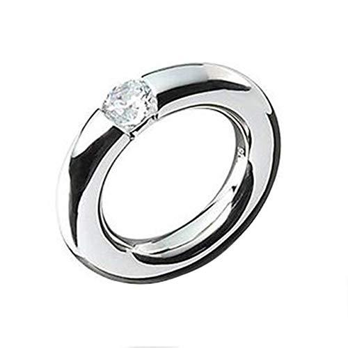 massiver Silber Ring hochwertige Goldschmiedearbeit aus Deutschland - 5 mm Breite (Sterling Silber 925) mit Zirkonia - massiver schwerer schlichter Silberring Rundbandring hochglanzpoliert - Damenring