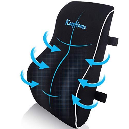 Almohada de apoyo lumbar para silla, almohada lumbar de espuma viscoelástica, cojín ortopédico para silla de ordenador, silla de juegos, silla de oficina, coche, cubierta lavable de malla