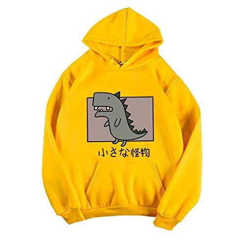 zhanxin Womens Loose Cartoon Dinosaur Hoodies Sweatshirt Pullover Long Sleeve Blouse Cartoon Printed Autumn Winter Streetshirt Yellow