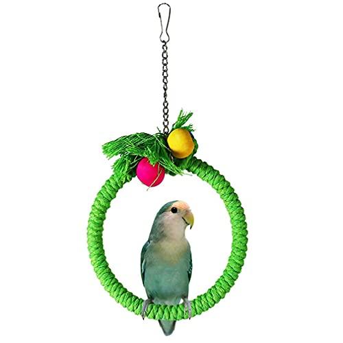 MNNE Anillo Colgante Parrot Swing,Cuerda De Algodón Parrot Swing Anillo Colgante Escalada Masticar Juguetes Caja Columpio Colgante Anillo Jaula Perca Juguetes para Budgie