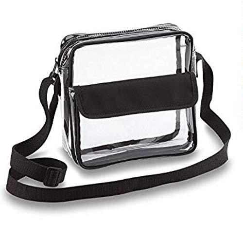 Clear Crossbody Messenger Shoulder Bag with Adjustable Strap Stadium Approved Transparent Purse (Black)
