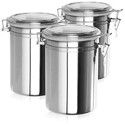 COM-FOUR 3x Lata de almacenamiento con tapa abatible, caja de acero inoxidable, contenedor de café hermético, 2 litros