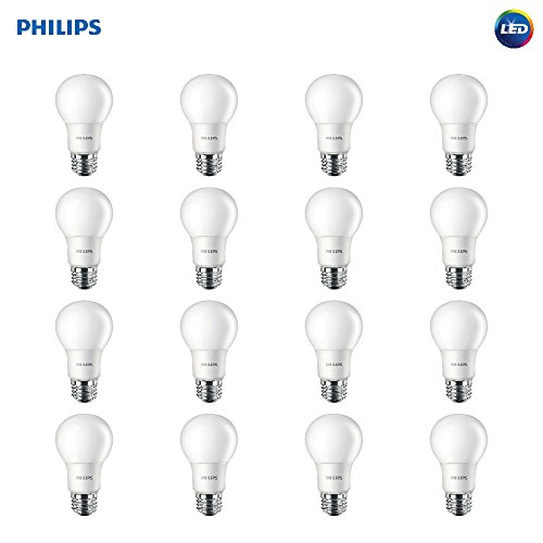 Philips LED Non-Dimmable A19 Clear Light Bulb: 800-Lumen, 2700-Kelvin, 8.5-Watt (60-Watt Equivalent), E26 Base, Soft White, 16-Pack