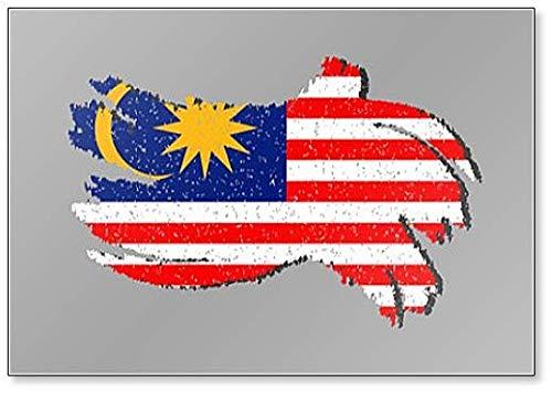 Maleisië Grunge vlag, Maleisië Vlag met Schaduw Illustratie Koelkast Magneet