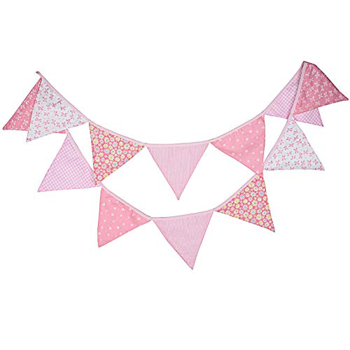 G2PLUS Double Sided Fabric Bunting Banner, 3.3M Triangle Floral Bunting Flags mit 12PCS Floral Pennants, Cotton Shabby Chic Garland for Bedroom Brithday Tea Party Decorations-Pink