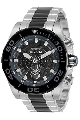 Invicta Men's 48mm Marvel Black Panther Quartz Two Tone Black Silver Watch 33392