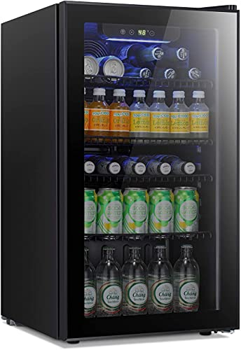 Antarctic Star Beverage Refrigerator Cooler - 120 Can Mini Fridge Glass Door for Soda Beer or Wine...