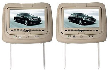 Dual 9' Headrest Monitors with Built in Dvd Players, IR and FM Transmitters, Built in Gaming System, USB SD Card Readers and 350 Degree Swivel Screen. Tan/Beige Color