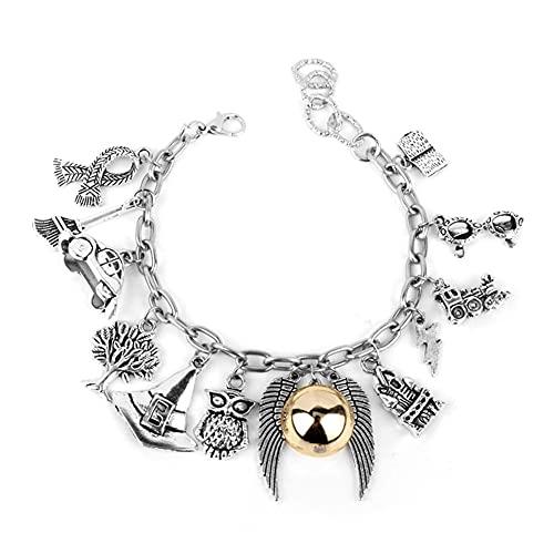 OYSJ Snitch Braccialetto a Forma di Bracciale a Tema, Harry Potter Bracelet Charm Bracciali Time Morte Boccino d'oro per Collezione di Regali o Decorazioni Magici Cosplay Costume