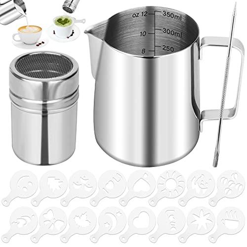 Milchkännchen Edelstahl, 350 ml Espresso Kännchenmit Edelstahl-Pulverstreuer, Latte Art Stift und 16 Stücke Kaffee Cappuccino Schablonen, Handheld Aufschäumkännchen für Milchaufschäumer