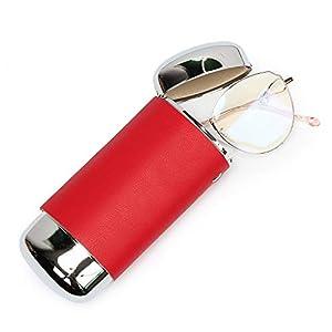 e88創造的なメタルミラー交換可能なPUレザーメガネケースポータブルメガネ収納ボックス (レッド)