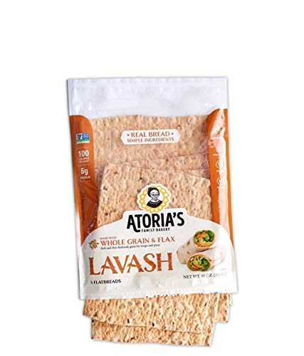 Atoria's Family Bakery Lavash with Whole Grain & Flax │ Perfect for sandwich bread, wraps or pizza crust │100 calories and 6g protein per Sheet │ Full case │ 10 packs of 5 flatbread │ 50 pieces