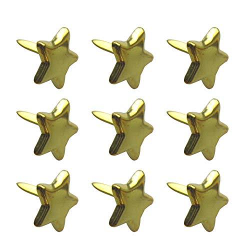Healifty 200 Stücke Mini Brads Metall Stern Brad Papierverschluss für Scrapbooking Handwerk DIY Papier 14Mm Gold