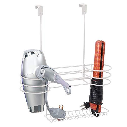 mDesign Soporte para secador de Pelo sin Taladro – Colgador para Puerta con Tres Compartimentos para el secador del Pelo – Organizador de baño para rizador, Plancha o cepillos del Pelo – Blanco