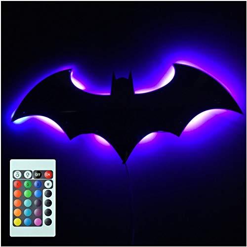 Veilleuse 3d Batman 7 Couleur Miroir Led Télécommande Nuit Lumière Porche Canal Projection Lampe Murale Enfants