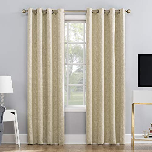Sun Zero Marcella Damask Jacquard 100% Blackout Grommet Curtain Panel, 52' x 95', Gold/Cream
