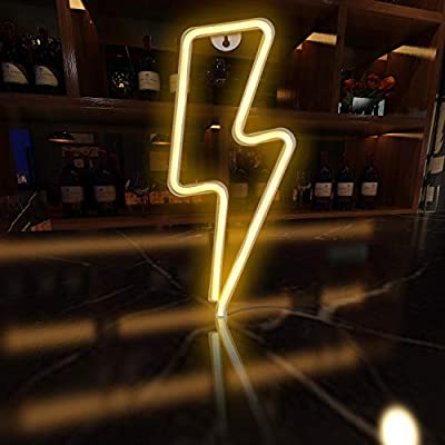 Funpeny LED Neon Decorative Light, Neon Sign Shaped Decor Light, USB Charging & Battery Indoor Decor for Living Room, Birthday Party, Wedding Party (White Lightning)