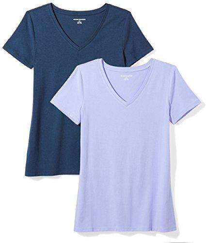 Amazon Essentials Women's 2-Pack Classic-Fit Short-Sleeve V-Neck T-Shirt, Purple/Navy, X-Large